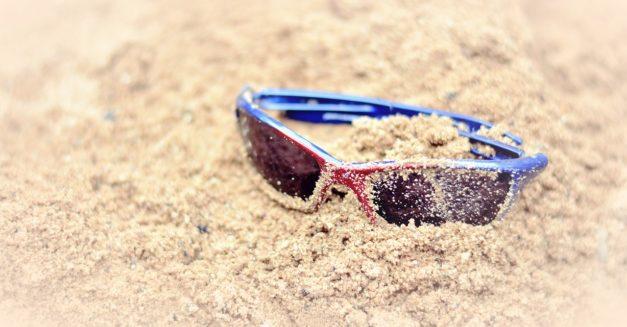 sunglasses, sand, summer